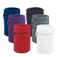 6x Lot Wristbands with Zipper Pockets Wrist Band Sweatband Cotton Sports GOGO