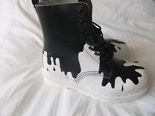DrMARTENS PASCAL PAINT SPLAT BOOTS> BLACKonWHITE SIZE UK4 EU 37 Wms UK5 NEW CON