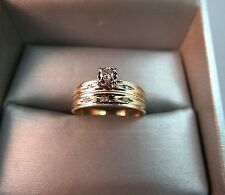 10k Yellow Gold Diamond Wedding Engagement Ring Set Vintage Estate Size 8 LDI