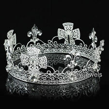 Men's Pageant Imperial Tiara Full Circle Round Silver King Crown AT1821