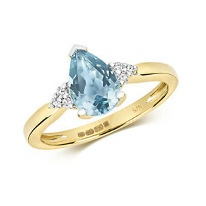 9ct Yellow Gold Diamond and Pear Cut Blue Topaz Cocktail Ring