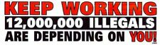 Keep Working 12,000.000 Illegals Are Depending On You! Bumper Decal