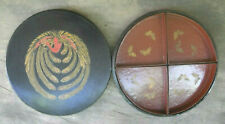Japanese Lacquerware Antique Nippon Art Deco Peacock Covered Serving Dish BIRD *