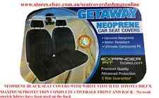 PAIR NEOPRENE CAR SEAT COVERS WITH WHITE STITCH FIT MAZDA 626 BUCKET SEAT