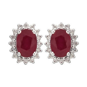 White Gold Genuine Oval Ruby and 1/4ct Diamond Halo Earrings