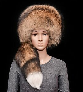 Saga Furs Natural Finnraccoon Fur Handmade Daniel Boone Style Massive Men's Hat