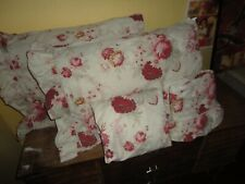 VINTAGE WAVERLY NORFOLK ROSES RUFFLED RED FLORAL CREAM GREEN (4PC) SHEET SET