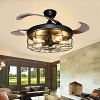 Modern Industrial Pendant Lamp Chandelier Ceiling Fan Light Fixture Cage Remote