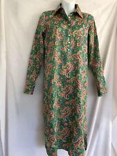 Ralph Lauren LRL Shirt Dress Paisley Green Orange size 4