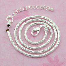 10pcs Silver Tone Lobster Clasp Snake Chain Necklaces Fit European Bead 45cm L12