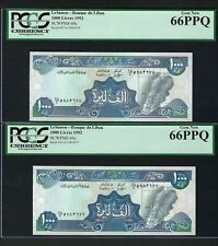 Lebanon 2 Notes 1000 Lira 1992 P69c Uncirculated Graded 66