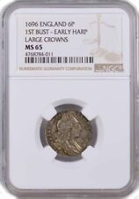 1696 6P Six Pence Silver England William III 1st Bust Early Harp S-3520 NGC MS65