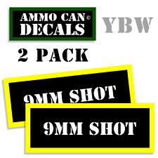 9MM SHOT Ammo Label Decals Box Stickers decals - 2 Pack BLYW