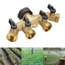 4Way Brass 3/4'' Garden Tap Connector Splitter Hose Pipe Fitting Switcher Nozzle