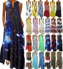 Womens Boho Floral Sleeveless Maxi Dress Summer Casual Long Sundress Plus Size