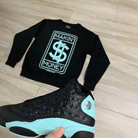Sweater to match Jordan Retro 13 Island Green. Makin Money Crewneck