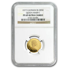 1977 Cayman Islands Proof Gold $50 English Queens PF-69 NGC - SKU #85451
