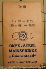 "Vintage NOS PM ONYX-STEEL Watch Mainspring 8 X 10 X 11 1/2"" Metric 170X011X29.50"