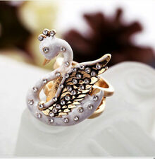 R225 BETSEY JOHNSON WHITE Flying SWAN Lake Bow Wing Wings Ring  US