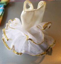 Barbie Vintage 1970's White Tutu Dress Gold Trim # 9093 B3
