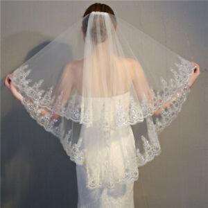 2 Tier Sequins Flower Edge 90cm length Short Bridal Wedding Veil with Comb UK