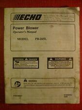 Original ECHO Power BLower Operators Manual PB-265L pb265l