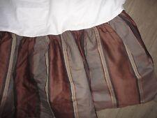 "Waterford Brown Truffle Gold Stripe King Bedskirt 15"" Drop Split Corner"