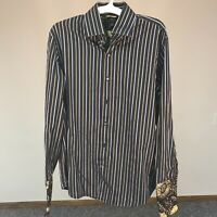 Banana Republic Men's Button Front Long Sleeve Black Gray Striped Shirt Large L