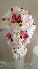 Silk Brides Tropical Bouquet - 21 Pcs. -Orchids, Star Lilies, Roses, Baby Breath