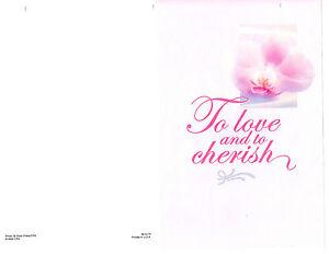 "Wedding Bulletin White, Pink, Flower 8 1/2"" x 11""  PACK OF 100"