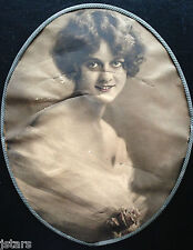 circa 1920s PIN-UP GIRL or ACTRESS PICTURE IN TIN FRAME, MADE IN GERMANY