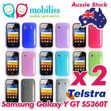 2 x Telstra Samsung Galaxy Y GT S5360T Soft TPU Gel Jelly iSkin Case Cover Skin