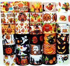 "Grosgrain Ribbon 30 yd 1.5"" Mixed Lot Halloween Boo Candy Thanksgiving Printed."