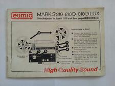 Eumig Mark S810 810D 810 DLUX manual