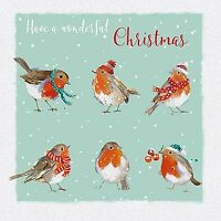 Charity Christmas Card Pack - 6 Cards Xmas Robins - Glittered - Ling Design