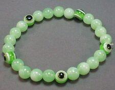 EVIL EYE Stretch Bracelet 8mm Beads Good Luck All-Seeing Eye GREEN Low Stock!