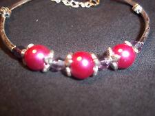 Tibetan Silver PINK Pearl & PURPLE Crystal Bead CUFF Bracelet B-37