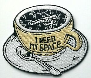 I Need My Space Social Distancing Astronaut Iron On Embroidered Patch Tea Cup