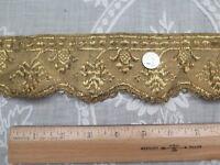"Antique 18thC French Gold Metallic Handwoven Trim c1780~Passementarie~L39""X W-2"""