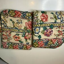 vintage croscill pillow sham pair quilted red red floral print pocket closure