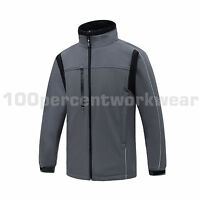 Aqua Mens Grey with Black Trim Soft Shell Jacket Underarm Zips Work Wear Outdoor