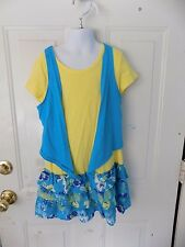 JUSTICE BLUE/YELLOW FLORAL PRINT RUFFLE DRESS SIZE 10 GIRL'S EUC