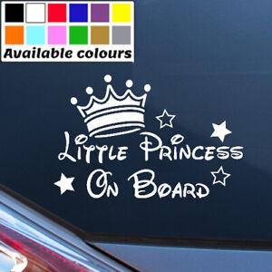 LITTLE PRINCESS ON BOARD PERSONALISED BABY CAR WINDOW BUMPER STICKER VINYL DECAL