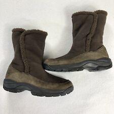 LL Bean Womens 7M Boots Brown Suede Fleece Upper Slip On Fleece Lined