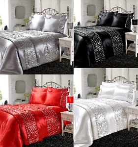 Shimmer Luxury Design Sparkle Duvet Quilt Covers Set Satin Silk Laces Bed runner