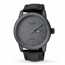 NEW Citizen Men's BM8475-00F Black Canvas Strap Eco-Drive Watch