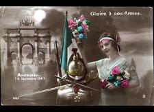MONTMIRAIL (51) ARMES & MEDAILLE MILITAIRES & FEMME PATRIOTIQUE en 1914