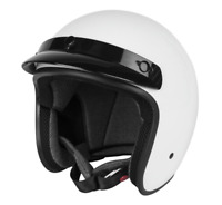 Black Brand Cheater .75 Open Face Motorcycle Helmet - Gloss White