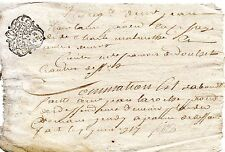 REGION AUVERGNE / DOCUMENT MANUSCRIT XVIIIe Vieux Français Cachet