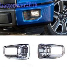 fit 2015 2016 2017 Ford F-150 F150 Chrome Front Bumper Fog Light/Lamp Cover Trim
